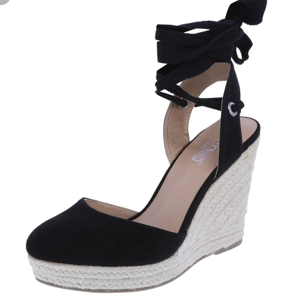 c1696847733 Black Espadrilles Wrap Wedge Sandals 6